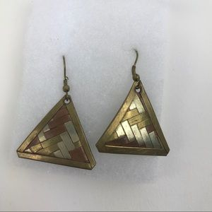 Jewelry - Handmade copper brass triangle earrings boho long